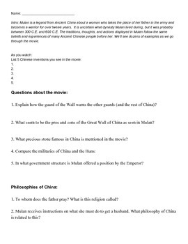 English worksheets: Mulan film comprehension