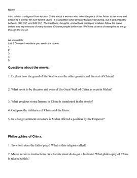 Mulan Worksheet