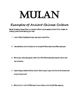 mulan worksheet ancient chinese culture examples by kristi rodenbeck. Black Bedroom Furniture Sets. Home Design Ideas