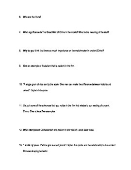 Mulan Worksheet- Ancient Chinese Culture Examples