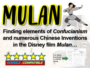 Mulan! (teach about China, Confucianism and Chinese Invent