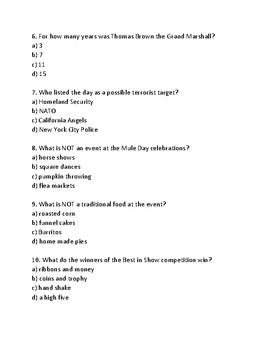 Mule Day - lesson informational article facts review questions word search