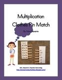 Muliplication Clothes Pin Match