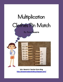 Muliplication Cothes Pin Match