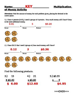 Muliplication of Money and Whole Numbers (Decimals) 6NS3