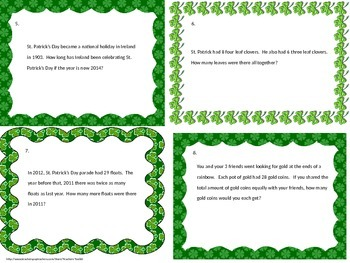St. Patricks Day Mulit-step Word Problems Test Prep Task Cards Common Core TEKS