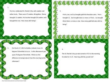St. Patricks Day Mulit-step Word Problems Test Prep Task C
