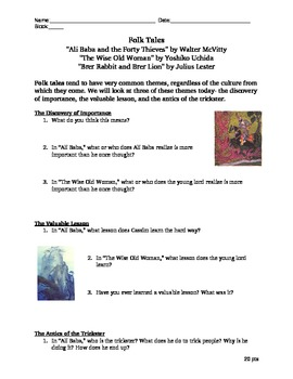 Multicultural Folk Tales Analysis- Ali Baba Brer Rabbit Wise Old Woman