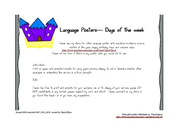 Mulitcultural language posters - days of the week