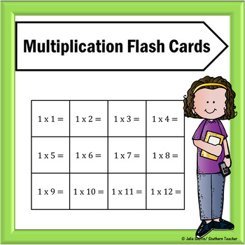 Multiplication Flash Cards for Facts 0-12