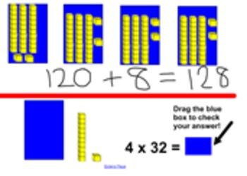 Mulitplication of large numbers with base 10 blocks