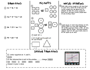 Mulitstep equation foldable with pictures and words