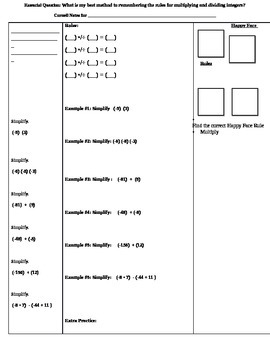 Mult. & Dividing Integers Cornell Notes (7.NS.2; Math. Practices: 1,3,4,8)
