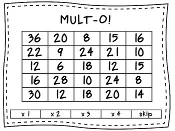 Mult-O Multiplication Fact Games BUNDLE - 5 Versions!