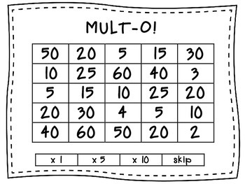 Mult-O!  Multiplication Partner Game for x5 and x10 math facts