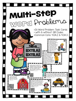 "Multi-Step Word Problems with QR Codes ""Word Problems"""