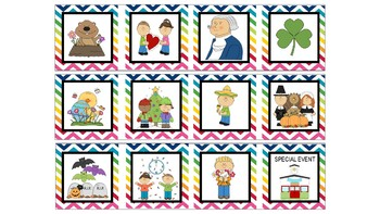 Multi Bright Chevron Classroom Calendar & Classroom Management Pack