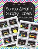 Multi Chevron & Chalkboard School & Math Bins Supply Labels