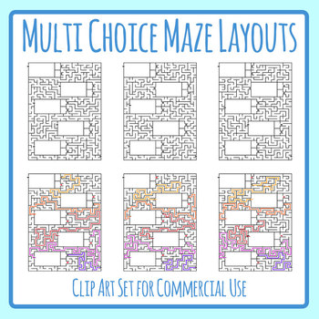 Multi Choice Maze Worksheet Templates / Layouts 02 Clip Art for Commercial Use
