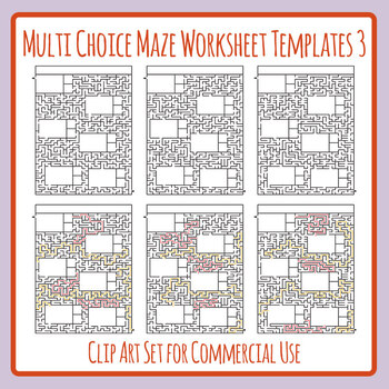 Multi Choice Maze Worksheet Templates / Layouts 3 Clip Art for Commercial Use