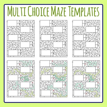 Multi Choice Maze Worksheet Templates / Layouts Clip Art for Commercial Use