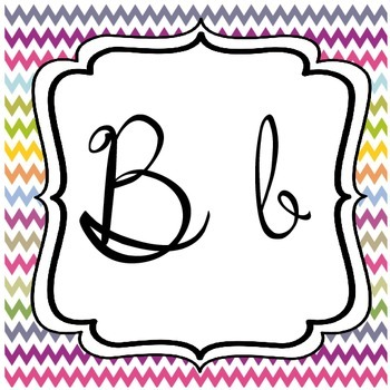 Multi-Color Chevron Cursive Alphabet