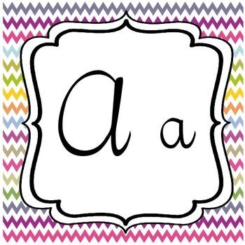 Multi-Color Chevron Cursive Alphabet