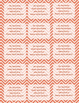 Multi-Color Chevron Print Teacher Info Magnet **Editable