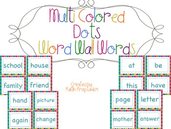 Multi Color Dots Word Wall Words