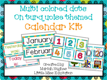 Calendar Kit - Multi-Colored Polka Dots on Turquoise Themed