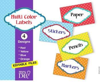 Multi Color Labels for classroom organization - ** ORIGINAL ARTWORK