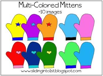 Multi-Color Mittens {clipart}