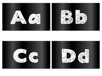 Multi-Color Square Chalk Themed Alphabet Letters (Bundle)