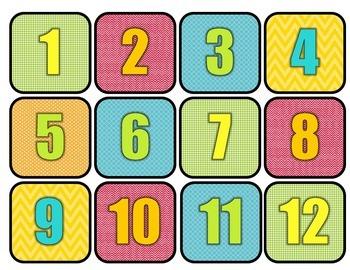Multi-Colored Calendar Days 1-31 and 23/30 & 24/31