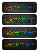Multi-Colored Chalkboard Themed Pocket Chart Subject Schedule Cards & Calendar