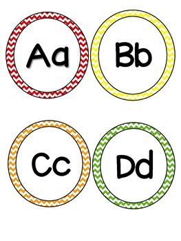 Multi-Colored Chevron Print Word Wall Headers