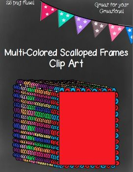 Multi-Colored Open Scalloped Frames- 25 png files
