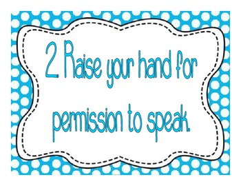 Multi-Colored Polka Dot Themed Whole Brain Teaching Classroom Rules Posters