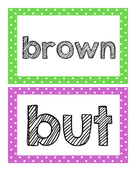 Multi-Colored Sight Word Play Dough Mats