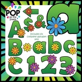 Flower Alphabet: Multi-colored Spring Flowers Clip Art