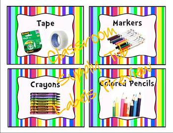 Multi-Colored Stripe Classroom Label Bundle Pack
