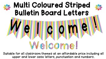 Multi Coloured Striped Bulletin Board Letters!