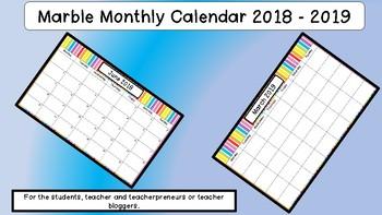 Multi Coloured Striped Monthly Calendar 2018 -2019