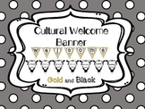 Multi-Cultural Pennant Banner in Black and Gold