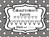 Multi-Cultural Pennant Banner in Black and White