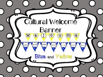 Multi-Cultural Pennant Banner in Blue and Yellow
