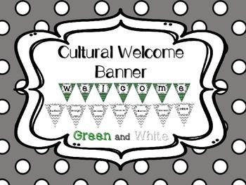 Multi-Cultural Pennant Banner in Green and White