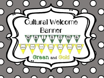 Multi-Cultural Pennant Banner in Green and Yellow