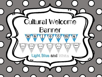 Multi-Cultural Pennant Banner in Light Blue and White