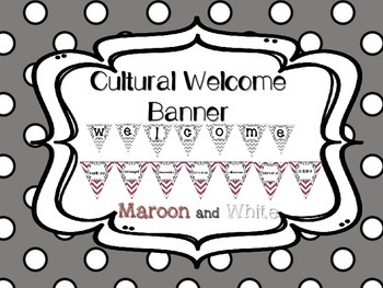 Multi-Cultural Pennant Banner in Maroon and Gray